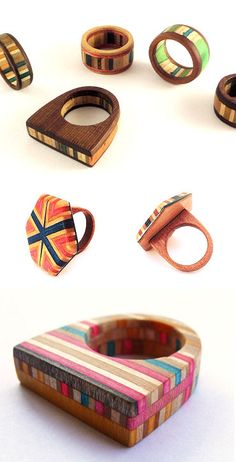 Recycled skateboard rings by Chile's Rubrum.