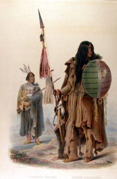 Assinboin warriors, Karl Bodmer