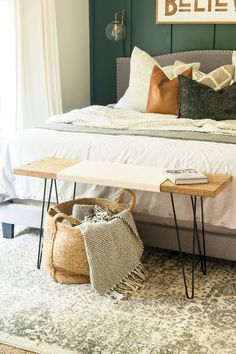 Making a DIY woven bench is a simple beginner project. Learn how to make a DIY bench customizable to your space with this simple tutorial! #fromhousetohaven #woodworking #diybench #wovenbench #diyprojects #diyhomedecor #bench