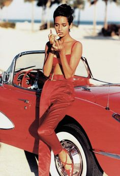 "80s-90s-supermodels: "" ""In Rosso"", Marie Claire Italia, March 1990 Photographer: Eamonn J. McCabe Model: Gail Elliott """
