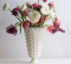 Beaded Pedestal Ruffle Vase from Frances Palmer Pottery