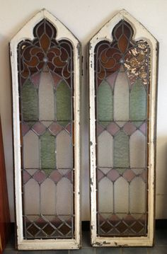 ANTIQUE STAINED GLASS WINDOWS 100+ YEAR OLD ARCH CHURCH WINDOWS ALMOST 6 FEET!!!