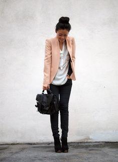 Peach blazer, white top, black pants and black booties