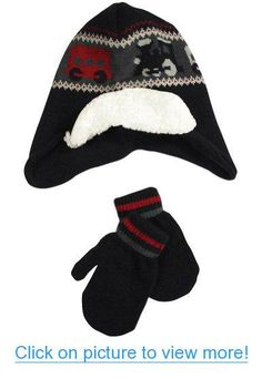 CTM Toddler Girls 2-4 Quilted Pattern Beanie with Bow and Matching Mitten Set