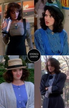 "Each of the main characters in ""Heathers"" had their own clothing color scheme. Veronica (Winona Ryder) was blue to match her meloncholy from feeling ill at ease with the evil Heathers trio. Gah, loved all the clothes in this movie, one of my top faves!"