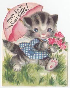 Vintage Greeting Card Easter Cute Cat M Cooper Marjorie Die Cut 1950s A072 | eBay