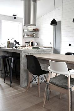 #interior #design #kitchen #black #white #wood #steel                                                     Click here to download ...