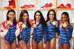 Kyla Ross, McKayla Maroney, Aly Raisman, Jordyn Wieber and Gabrielle Douglas of the U.S. women's gymnastics team. (Alex Grimm/Getty Photo)