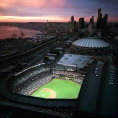 Safeco field at sunset as well as a nice view of Seattle Go Seattle Mariners