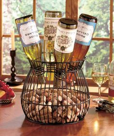 Fun and Decorative Cork and Wine Bottle Holder for Bar Kitchen Dining Room | eBay