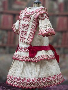 Antique Original French Cotton Dress with red embroidery for Jumeau Bru Steiner…