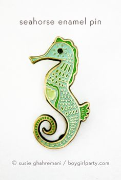 Seahorse Pin! Enamel pin featuring a detailed drawing of a seahorse by Susie Ghahremani / boygirlparty.com -- seahorse lapel pin for the win. #pingame