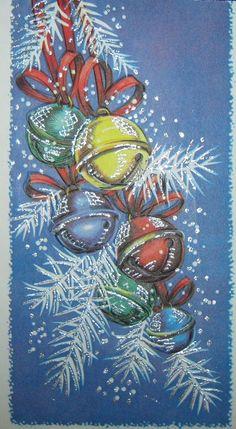 Vintage+Christmas+Card+Silver+Glitter+Jingle+Bells+White+Pine+Unused+Greeting+