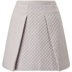 ST Studio Quilted Skater Skirt, Pebble Grey ($91) ❤ liked on Polyvore featuring skirts, knee length a line skirt, gray pleated skirt, high waisted skirts, circle skirt and skater skirts