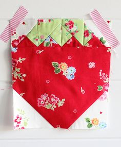 strawberry quilt block from pamkittymorning