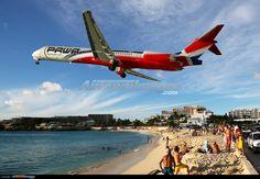 PAWA (Pan Am World Airways) Dominicana McDonnell-Douglas MD-83 departing St. Maarten