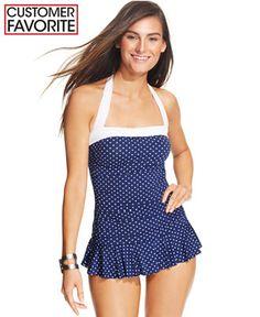 d0942a01272 Lauren Ralph Lauren Polka-Dot-Print Ruffled Swimdress - Swimwear - Women -  Macy s