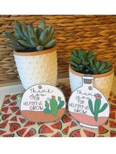 Thank You Tags - Helping us Grow by Teach Me Silly Thank You Tags, Thank You Gifts, Quick Print, Parent Volunteers, Adventure Gifts, Volunteer Gifts, Colorful Succulents, Staff Appreciation, Teacher Gifts
