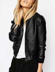Cool Popular Long Sleeve Zip Black PU Bomber Jacket- Coats & Jackets Code: 1346692 - Cheap Wholesale Price - Clothescheap.com