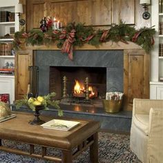 hearth with new knotty alder mantel and paneling and soapstone surround in this remodeled shingle-style cottage