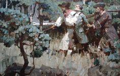 Mead Schaeffer -  The Black Buccaneer1929 Oil on canvas, 28 inches x 38 inches  The Black Buccaneer, Stephen Warren Meader, Harcourt, Brace & Co, 1929, p. 244 - Kelly Collection American Illustration Art