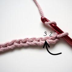 Petite Maille   Le crochet c'est pas ringard !: Leçon de crochet : la demi-bride Demi Bride Crochet, Pattern, Crochet Stitches, Pom Poms, Dots, Beginner Crochet Patterns, Learn Crochet, Tutorial Crochet, Simple Sewing Projects
