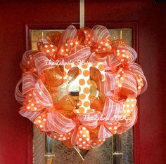 University of Tennessee Orange and White Deco Mesh Wreath. $65.00, via Etsy.