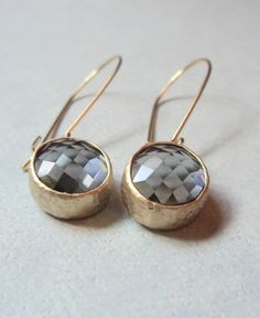 Gray grey GLASS and gold dangle earrings.  Bridal earrings.  Bridesmaids earrings.  Wedding earrings. on Etsy, $26.00