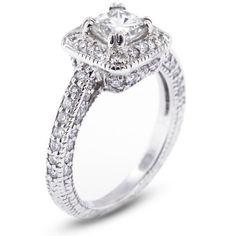 1.70 CT Ideal Cut Princess F-VS2 EGL Certified Diamond 14k Gold Vintage Halo Engagement Ring 6.31gr Diamond Traces, http://www.amazon.com/dp/B00BNAMVTE/ref=cm_sw_r_pi_dp_wfUorb0MZN43W