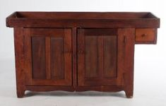American vernacular primitive pine dry sink early 19th century; with two panel cabinet doors and single drawer, 33 in. H., 60 in. W., 17 in. D.