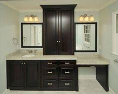 Dark Espresso bathroom vanity with make up desk