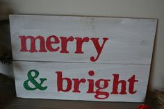 wood sign, merry & bright, reclaimed wood, Christmas sign