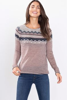 Esprit - Light jumper + intarsia, in a Mohair blend at our Online Shop