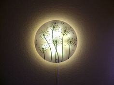 Dandelion White Wall Lamp Hand Painted Glass wall light Wall Lamps, Wall Sconces, Wall Decor, Glass Wall Lights, Mood Light, Wonderful Picture, Led Panel, Unique Home Decor, White Walls