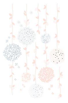 Kinderzimmer Wandtattoo XL \'Blumenranken\' grau/rosa 68cm