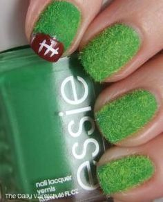 Football Nails With Real Grass Looking Design-- whoa, really looks like real grass!!