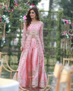 Luxurious Pink Cigarette Pant Suit With Resham WorkYou can find Designer dresses indian and more on our website.Luxurious Pink Cigarette Pant Suit With Resham Work Indian Wedding Outfits, Bridal Outfits, Indian Outfits, Bridal Dresses, Indian Attire, New Designer Dresses, Indian Designer Outfits, Indian Fashion Trends, Fashion Edgy
