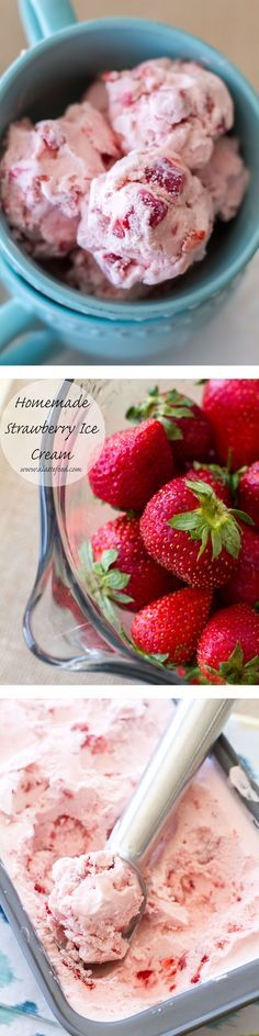 This homemade ice cream is creamy, dreamy, and made with fresh strawberries. It is so delicious! | www.alattefood.com