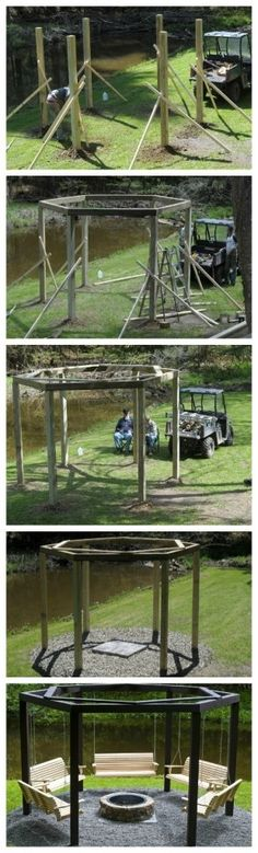 DIY - Backyard Swings Around the Campfire--except forget the swings and use this as a basis for a gazebo with a hole in the center of the roof so the smoke has somewhere to go Outdoor Fun, Outdoor Spaces, Outdoor Living, Outdoor Decor, Outdoor Seating, Outdoor Swings, Outdoor Lounge, Outdoor Projects, Home Projects