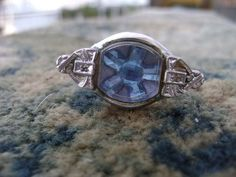 Ring Repurposed Adjustable Blue Flower by Aloquin on Etsy, $16.00