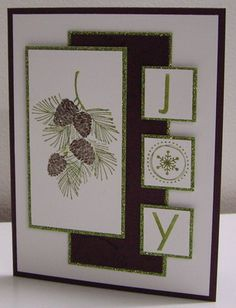 Pinecones and Branches - SC359 by Loll Thompson - Cards and Paper Crafts at Splitcoaststampers Christmas Cards To Make, Christmas Greetings, Homemade Christmas Cards, Stampin Up Christmas, Xmas Cards, Homemade Cards, Handmade Christmas, Holiday Cards, Diy Cards