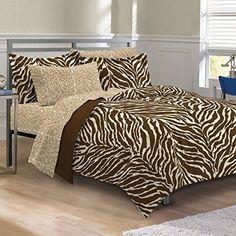 My Room Zebra Ultra Soft Microfiber Comforter Sheet Set Brown Full *** You can get additional details at the image link.