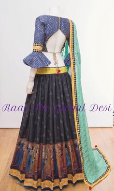 CHANIYA CHOLI 2018 Silk Chania with designer brocade blouse and contrast dupatta Saree Blouse Neck Designs, Choli Designs, Lehenga Designs, Lehnga Blouse, Lehenga Gown, Stylish Blouse Design, Designer Blouse Patterns, Indian Designer Wear, Clothes For Women