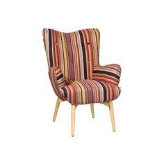 Butaca con reposabrazos, patas de madera y asiento tapizado en poliester tela rayada:      Colores disponibles:         Gris         Malva y Gris         Rojo y Gris     Ancho: 78 cm     Largo: 84 cm     Alto: 100 cm