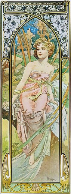 """Panneaux Décoratifs - Mucha - Série """"Les Heures du Jour"""" - Éveil du matin - 1899"""