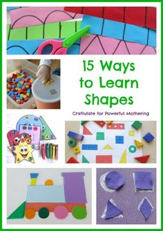 Here are 15 ways to Learn Shapes - including using an abacus, hopscotch, scissors, trains and pizza!