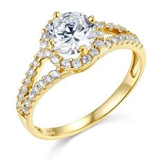 14k Yellow Gold SOLID Wedding Engagement Ring  Size 55 >>> You can get more details by clicking on the image.