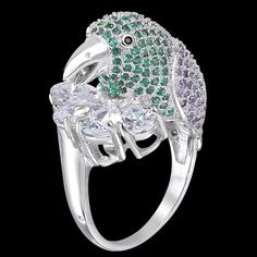 Animal Bird Parrot Teardrop Clear Zircon Cocktail Ring Silver GP Size 8 E482 #Unbranded #Casual