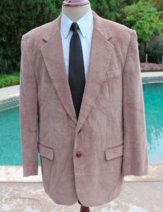 Thomas Hill Blazer Sport Coat size 42L Mens Corduroy 2 Leather Btn Elbow Patches #ThomasHill #TwoButton