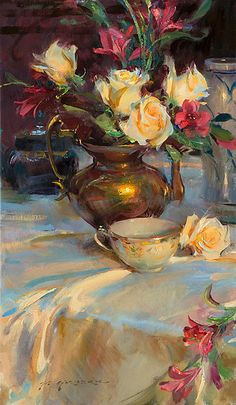 Passion Roses and Tea Daniel F. Gerhartz Passion Roses and Tea Daniel F.-- Begin Yuzo --><!-- without result -->Related Post Minimalist nail art idea Arte Floral, Paintings I Love, Beautiful Paintings, Flower Paintings, Still Life Art, Fine Art, Art Oil, Painting Inspiration, Painting & Drawing